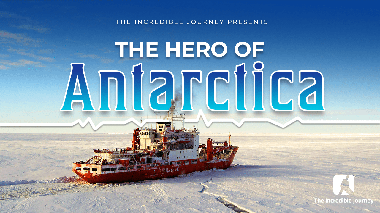 A ship cuts through the ice in Antarctica
