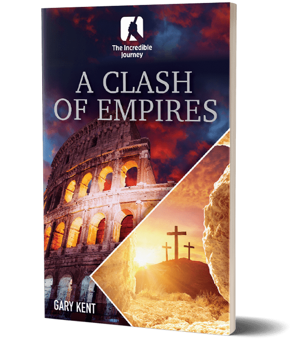 A book with the cross and the colosseum