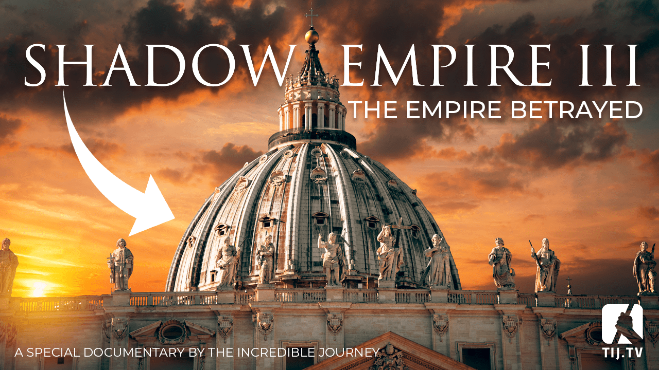 Shadow Empire III banner with a photo of St Peter's Basilica's roof