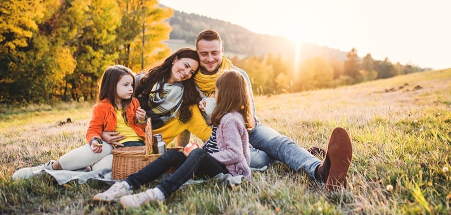Family having picnic in the mountains