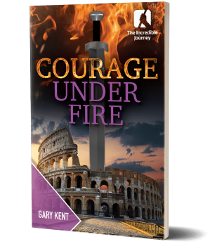 Booklet with a flame sword and the roman colosseum